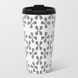 Feather Fan pattern - black and white Travel Mug
