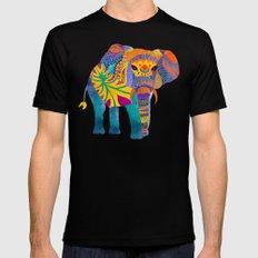 Whimsical Elephant Mens Fitted Tee MEDIUM Black