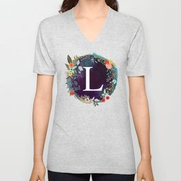 Personalized Monogram Initial Letter L Floral Wreath Artwork Unisex V-Neck