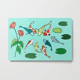 Koi Fish Meeting Metal Print