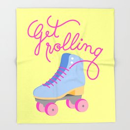 Get Rolling (Yellow Background) Throw Blanket