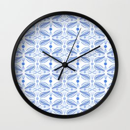 Poblanos Pattern Blue White Wall Clock