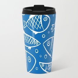 Fish blue white Travel Mug