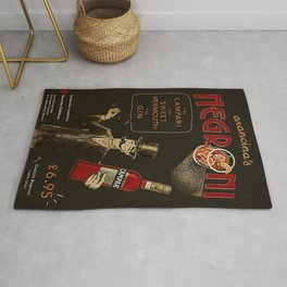 Arancina's Negroni Campari Italian Sweet Vermouth with Gin Red Vintage Advertising Poster Rug