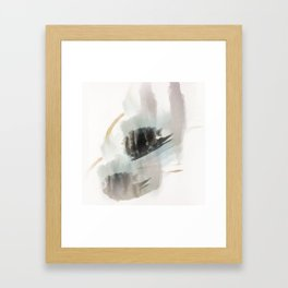 Build Me Up, Buttercup - a minimal acrylic and ink abstract piece in blue, black, and tan Framed Art Print