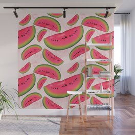Watermelon On Pink Pattern Wall Mural