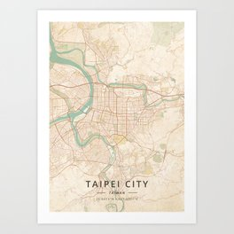 Taipei City, Taiwan - Vintage Map Art Print