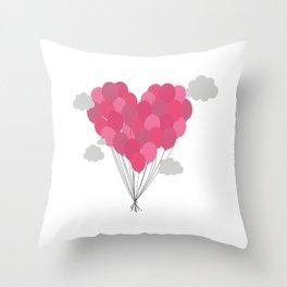 Balloons arranged as heart Throw Pillow