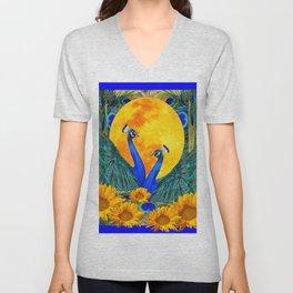 BLUE PEACOCKS MOON & FLOWERS FANTASY ART Unisex V-Neck