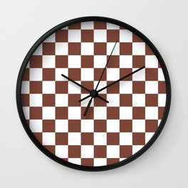 Checkered (Brown & White Pattern) Wall Clock