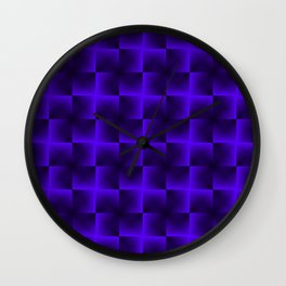 Rotated rhombuses of violet crosses with shiny intersections. Wall Clock