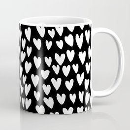 Linocut printmaking hearts pattern minimalist black and white heart gifts Coffee Mug