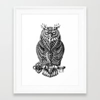 owl Framed Art Prints featuring Great Horned Owl by BIOWORKZ