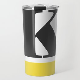 Monogram Letter K-Pantone-Buttercup Travel Mug