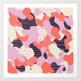 Modern abstract coral purple beige color trend camo camouflage stripes polka dots pattern Art Print