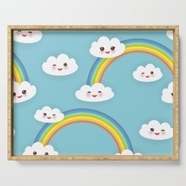 Kawaii funny white clouds set, muzzle with pink cheeks and winking eyes. blue pattern Serving Tray