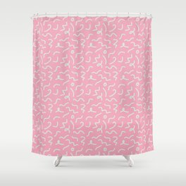 Postmodern Squiggles in Pink + Mint Shower Curtain
