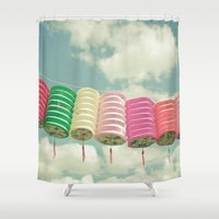 lanterns Shower Curtains featuring Chinese Lanterns by Cassia Beck