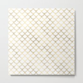 Glam Gold and White Mermaid Scallops Metal Print