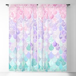 Cute Mermaid Pattern, Light Pink, Purple, Teal Blackout Curtain