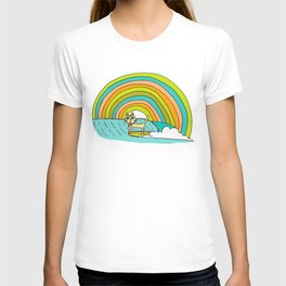 Rad Surf Kitty Tastes the Rainbow Single Fin Longboard T-shirt