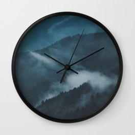 Layers of Mountain Valley Forest Fog Clouds Modern Landscape Wall Clock