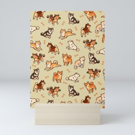 Shibas in cream Mini Art Print
