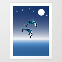 Blue Dolphins Jumping for Joy Art Print
