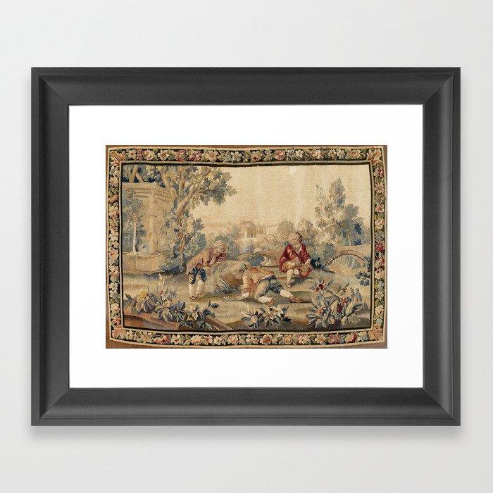 Aubusson  Antique French Tapestry Print Gerahmter Kunstdruck
