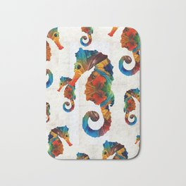 Colorful Seahorse Collage Art by Sharon Cummings Bath Mat