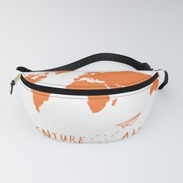 Adventure Map - Retro Orange on White Fanny Pack