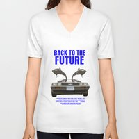back to the future V-neck T-shirts featuring Back To The Future by FunnyFaceArt