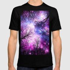 Black Trees Purple Fuchsia Blue Space LARGE Black Mens Fitted Tee