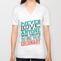 oscar wilde V-neck T-shirts featuring Never Ordinary - Oscar Wilde by Travis Cooper
