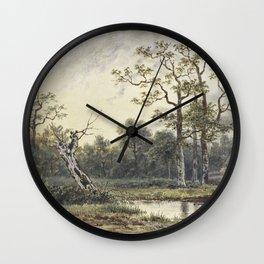 Landschap met figuren in een roeibootje by Georgius Jacobus Johannes van Os II Wall Clock