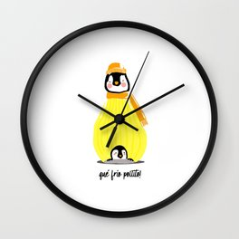 Little penguin with mama penguin Wall Clock