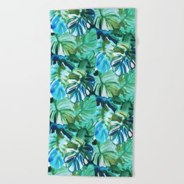 Palm Leaf Green Beach Towel