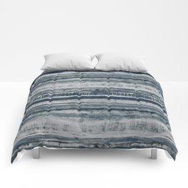 Expressive Indigo Watercolor Stripe Comforters