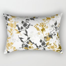 Branches and Leaves in Cobalt Grey and Brown Rectangular Pillow