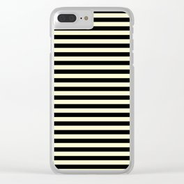 Cream Yellow and Black Horizontal Stripes Clear iPhone Case