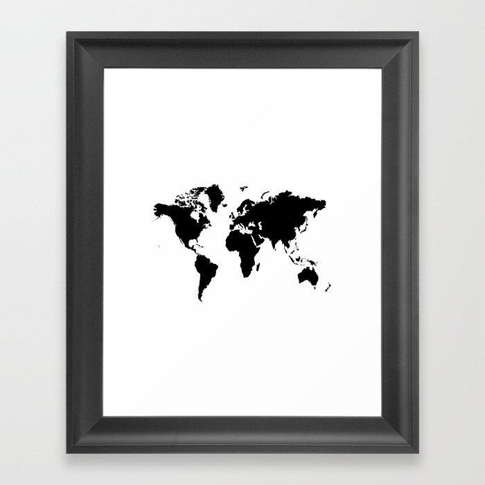 Black And White World Map Framed.Black And White World Map Framed Art Print By Haroulita Society6