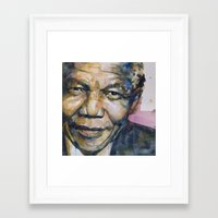 mandela Framed Art Prints featuring Nelson Mandela by Paul Lovering Watercolors
