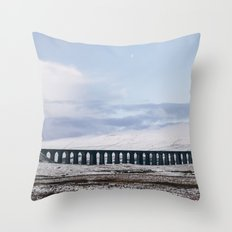 Snow and Moon over the Ribblehead Viaduct. Settle to Carlisle Railway, North Yorkshire, UK. Throw Pillow