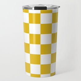 Mustard Yellow Checkers Pattern Travel Mug