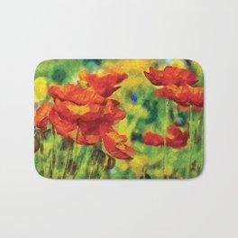 Poppies Van Gogh Modern Style Bold Bath Mat