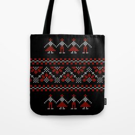 Traditional Romanian white & red cross-stitch people on black Tote Bag