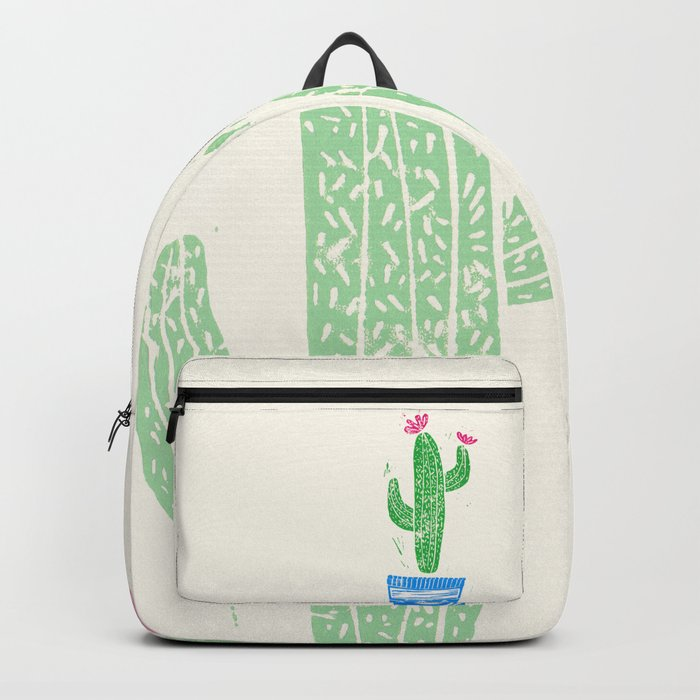 Linocut Cactus #2 in a pot Backpack