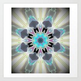 Aqua Peacock Inspired Mandala Art Print