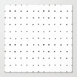Dot Grid Black and White Canvas Print