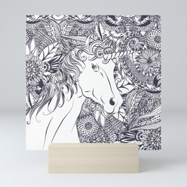 Whimsy unicorn and floral mandala design Mini Art Print